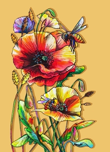 Funky honeybees and colorful poppies - earth