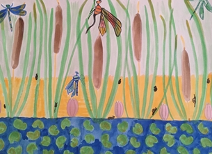Dragonflies and Bullrushes