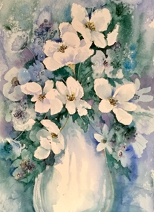 White flowers in a blue vase