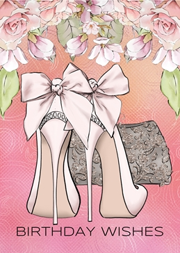 Pink Shoes Birthday Card For her