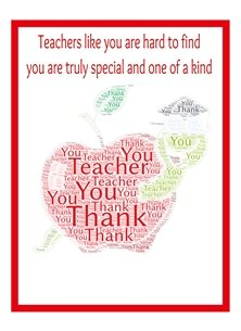 red apple and worm thank you teacher card