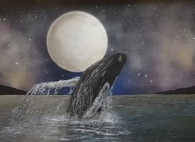 Whale breaching in the moonlight