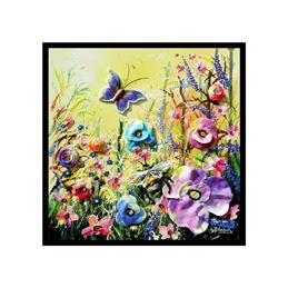 Artistic card with wildflowers at dawn