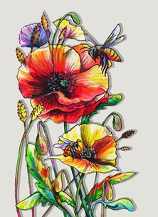Funky honeybees and colorful poppies - grey