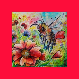 Honey Bee - Hearts and Flowers