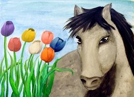 Tulips and Horse