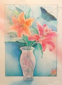 Tiger Lilies and Blue Butterfly