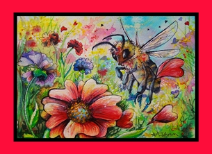 Honey Bees - Hearts and Flowers