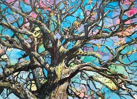 Stained glass trees: Winter oak