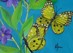 Butterflies and Purple Clematis (l s)