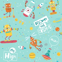 Happy Robots Card for Kids
