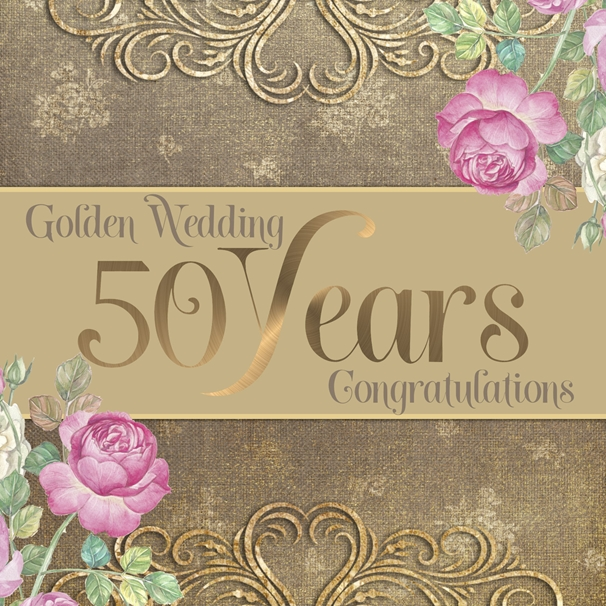 Millymoo Golden Wedding Anniversary Card  personalised online greeting card