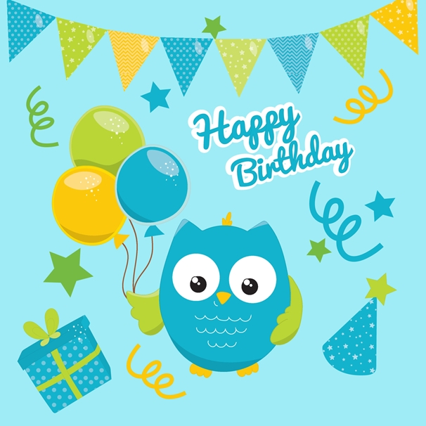 Snappy Designz Owl Birthday Card  personalised online greeting card