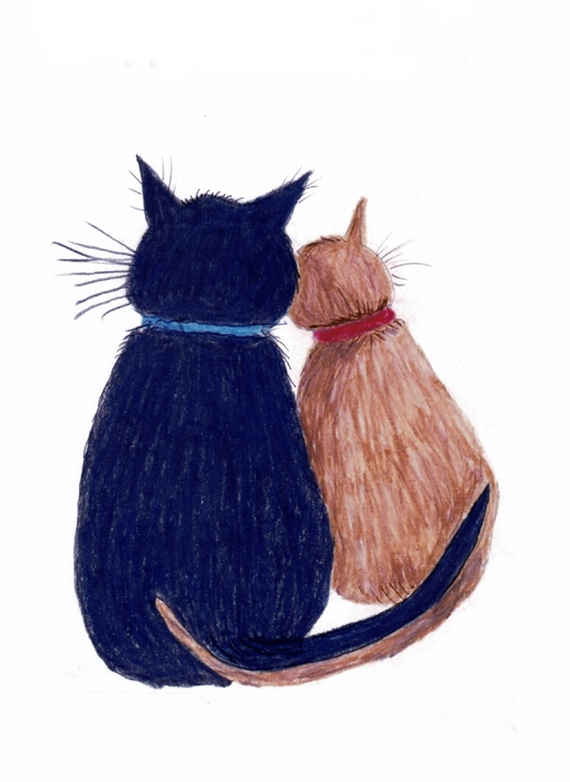 SJB Cards Rear of Black and Ginger Cats  personalised online greeting card