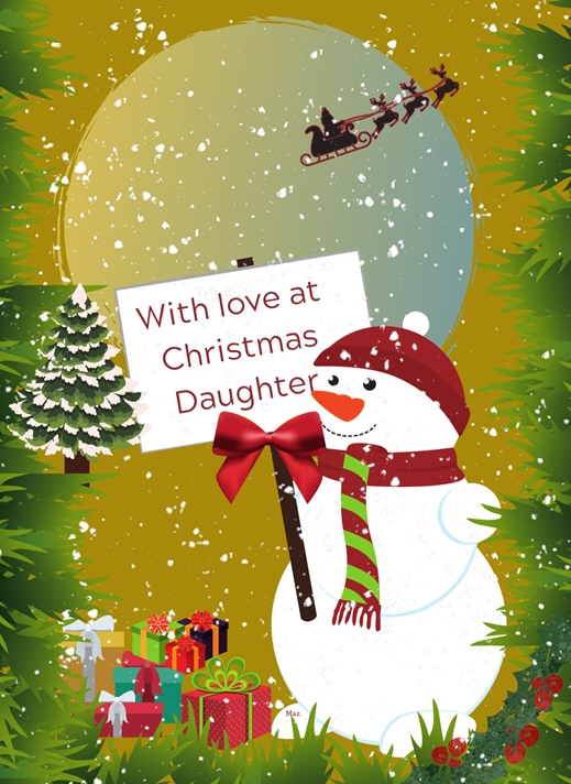 Her Nibs  With Love at Christmas Daughter  personalised online greeting card