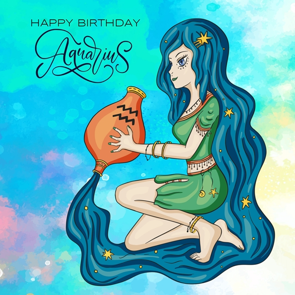 Birthday Greeting Card By Millymoo. (Happy Birthday Aquarius