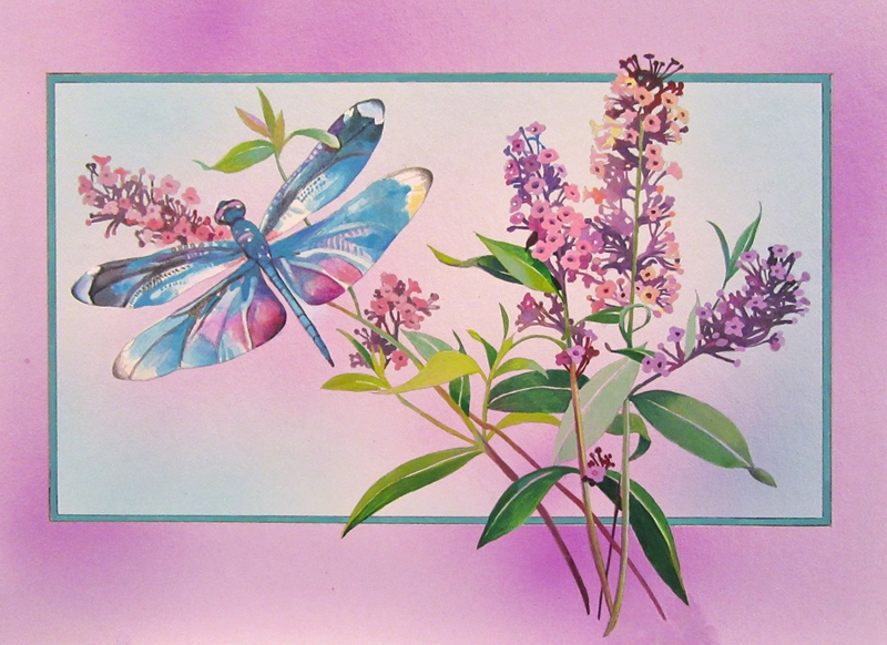 """Jan's Wee Wisdom Illustrations """"Dragon Fly and Butterfly Blossoms""""  personalised online greeting card"""