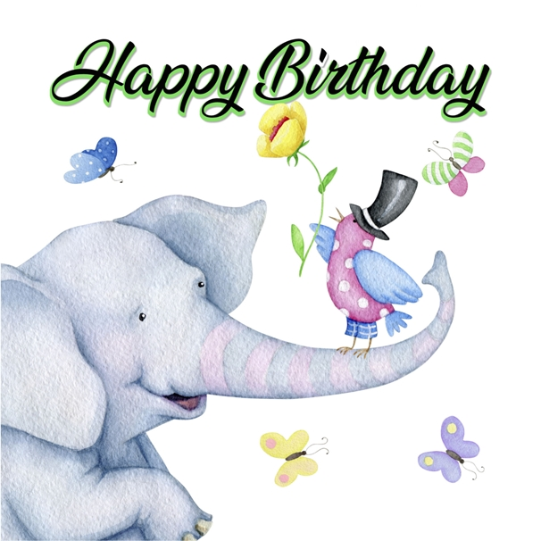 Snappy Designz Happy Birthday Elephant Card  personalised online greeting card