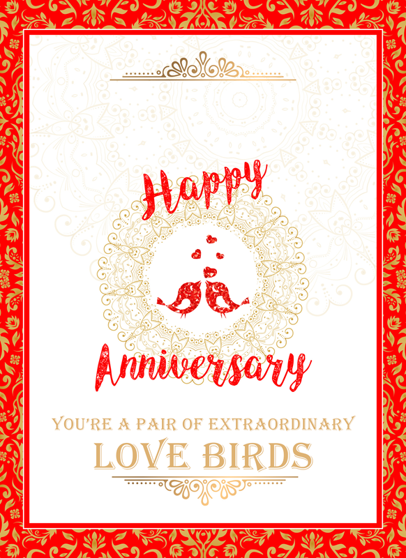 Frontloader Cards Anniversary Love Birds  personalised online greeting card