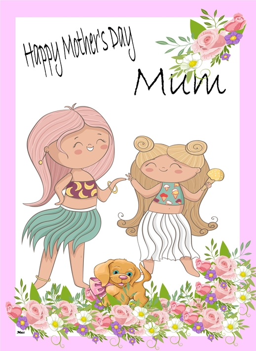 Her Nibs  Mother's Day Hawaiian Girls    personalised online greeting card