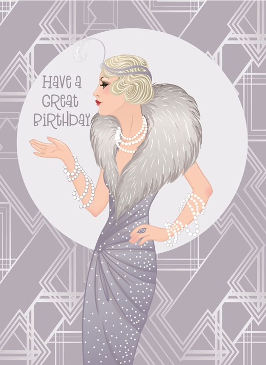 Snappy Designz Art Deco Birthday Card  personalised online greeting card