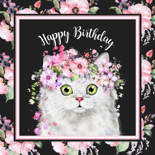 Snappy Designz Pretty Cat Birthday Card  personalised online greeting card