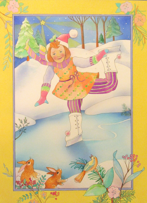 Jan's Wee Wisdom Illustrations The Ice Skater  personalised online greeting card