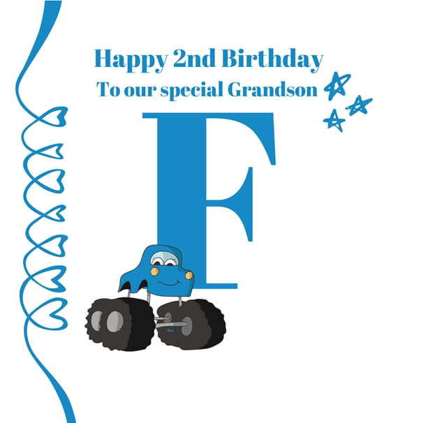 Her Nibs  Initial F ~ Grandson ~Add your own name   personalised online greeting card