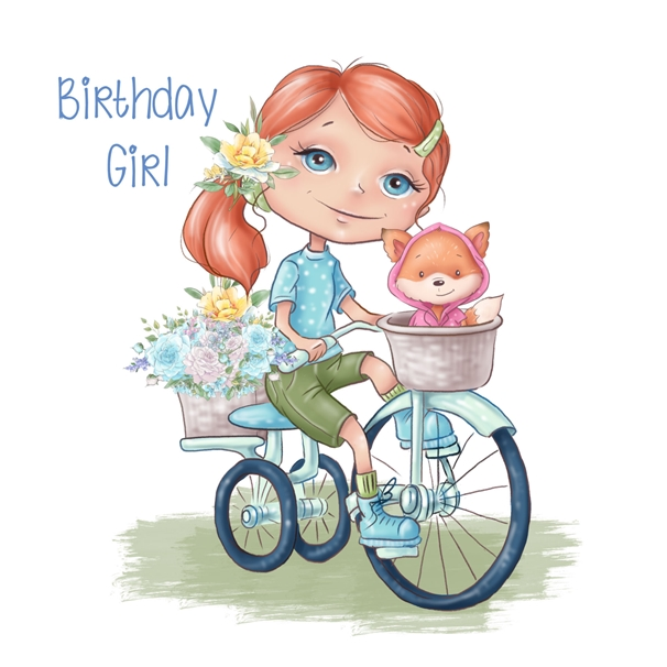 Snappy Designz Birthday Girl, Children's Card  personalised online greeting card