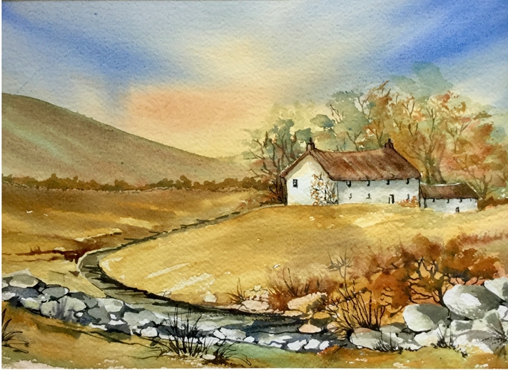 Art by Sheila O'Brien Old Cottage  personalised online greeting card