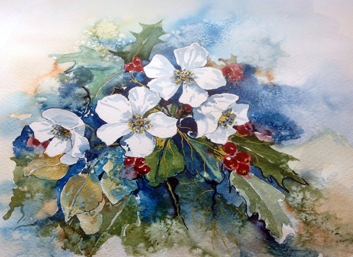 Art by Sheila O'Brien Winter roses  personalised online greeting card