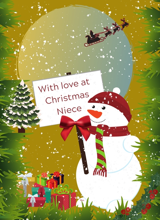 Her Nibs  With Love at Christmas Niece  personalised online greeting card