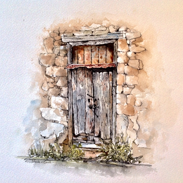 Art by Sheila O'Brien Old French door  personalised online greeting card