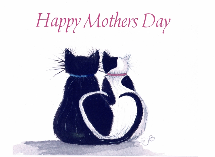SJB Cards Black and White Cat Mothers Day Card  personalised online greeting card
