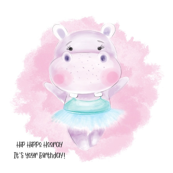 Snappy Designz Hippo Birthday Card  personalised online greeting card