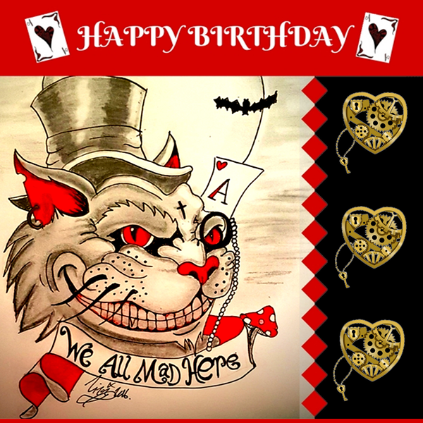 Lizzy'sCardsLTD Alice Madness Birthday Card  personalised online greeting card