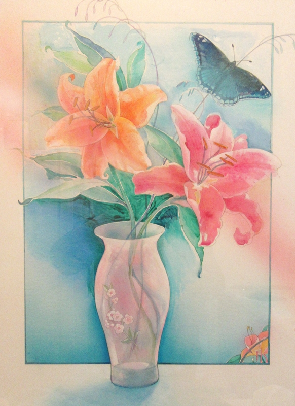 Jan's Wee Wisdom Illustrations Tiger Lilies and Blue Butterfly  personalised online greeting card
