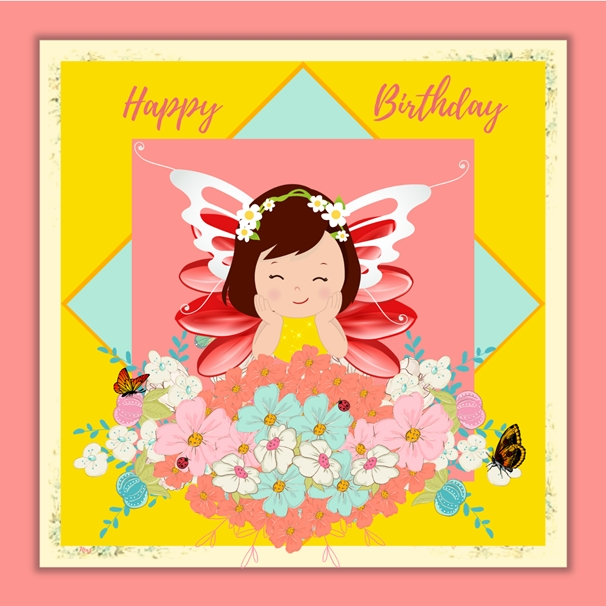 Her Nibs  Flower Fairy - Birthday  personalised online greeting card