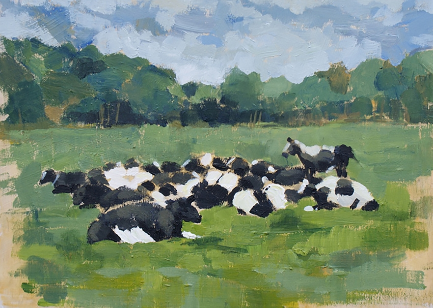 Mary Dodd Art Cows Basking  personalised online greeting card
