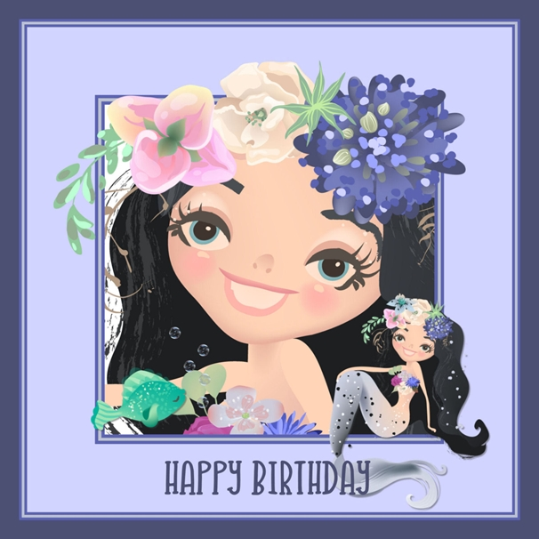 Snappy Designz Mermaid Birthday Card  personalised online greeting card