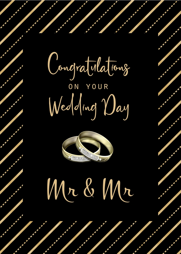 Millymoo Mr & Mr Wedding Card for men  personalised online greeting card