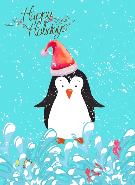 Her Nibs  Holiday Penguin   personalised online greeting card
