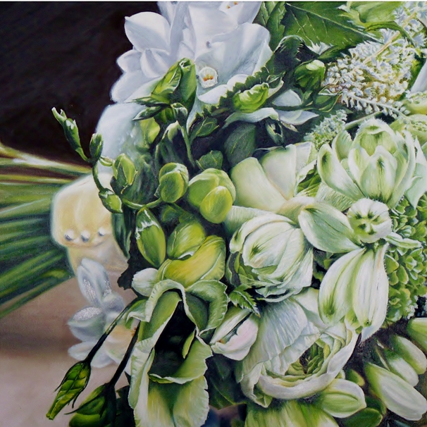 Kay Ashton Fine Art Bride's Bouquet (square)  personalised online greeting card