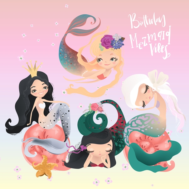 Snappy Designz Mermaid Birthday Vibes  personalised online greeting card