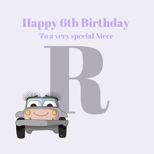 Her Nibs  Initial R ~ Niece,6th ~Add your own name   personalised online greeting card