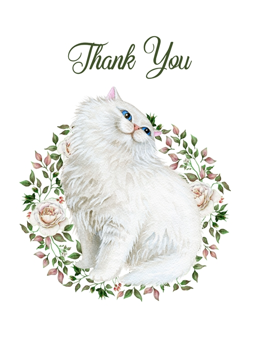 Snappy Designz Cat Thank You Card  personalised online greeting card