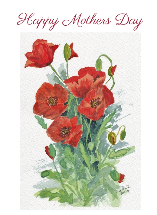 SJB Cards Red Poppies Mothers Day Card  personalised online greeting card