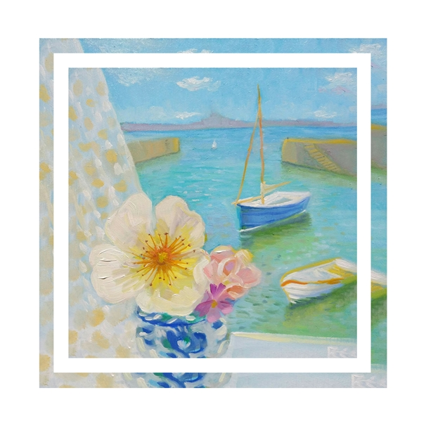 Bee Skelton Harbour with Roses  personalised online greeting card
