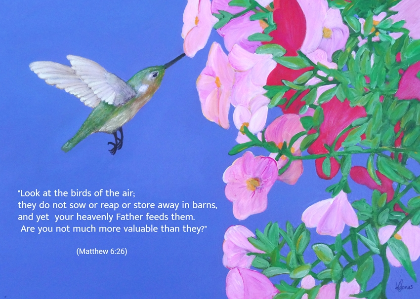 Karen J Jones Hummingbird & Petunias with scripture verse  personalised online greeting card