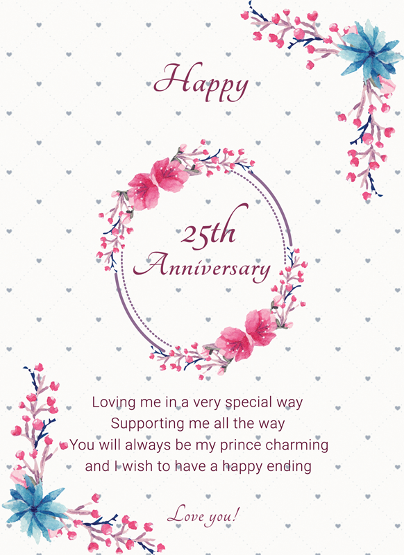 Frontloader Cards 25th Anniversary Card  personalised online greeting card